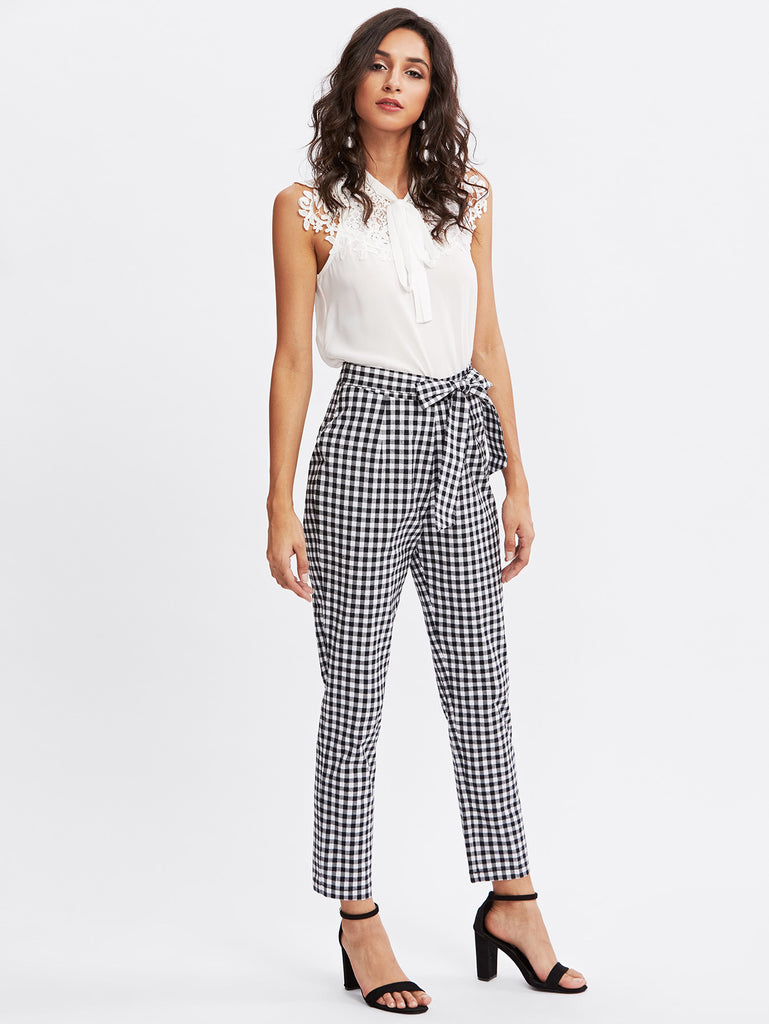 Checkered Bow Tie Waist Smoking Pants (3)