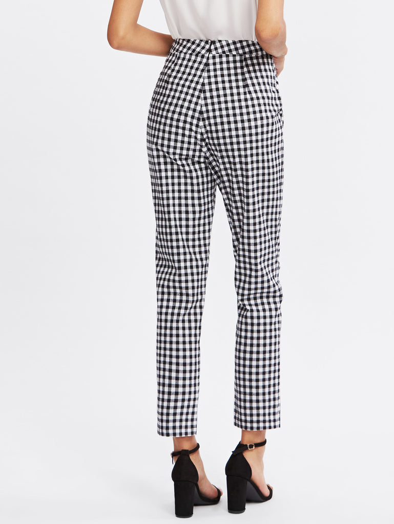 Checkered Bow Tie Waist Smoking Pants (4)