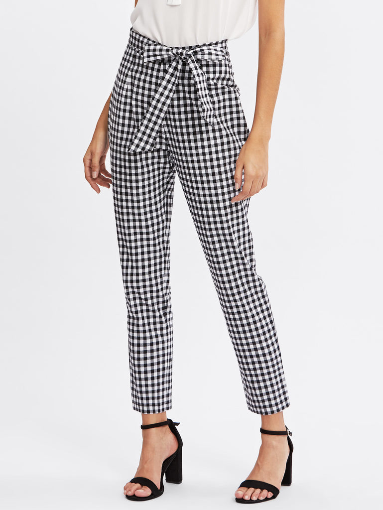 Checkered Bow Tie Waist Smoking Pants (2)