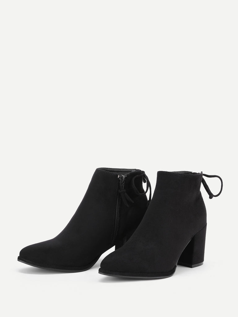 Lace Up Back Block Heeled Ankle Boots (2)