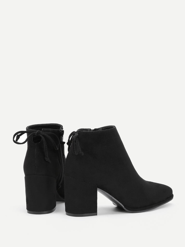 Lace Up Back Block Heeled Ankle Boots (3)