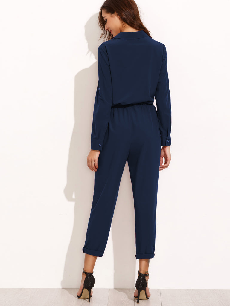 Tie Waist Rolled Sleeve Equipment Jumpsuit (4)