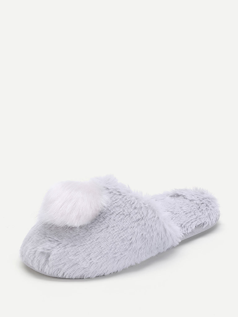 Contrast Pom Faux Fur Slippers (2)