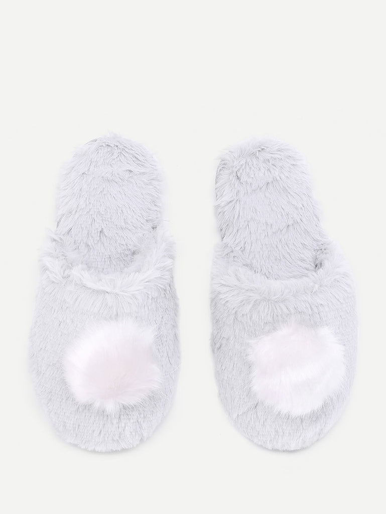 Contrast Pom Faux Fur Slippers (4)