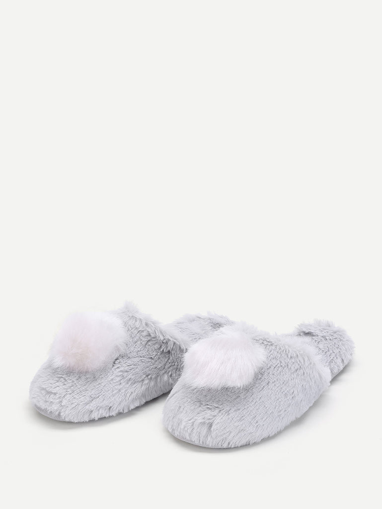 Contrast Pom Faux Fur Slippers (3)