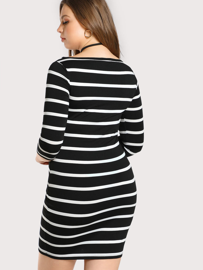 3/4 Sleeve Striped Tee Dress (2)