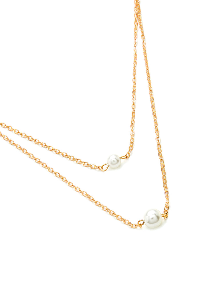 Faux Pearl Pendant Layered Chain Necklace (2)