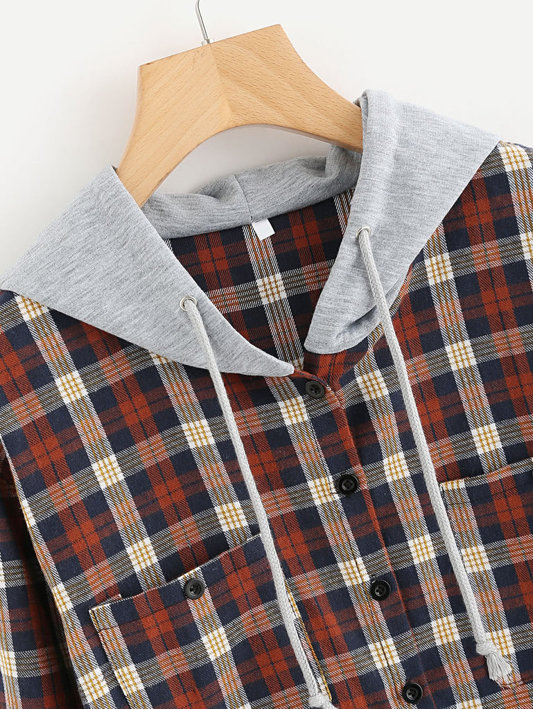 Hooded Button Front Check Sweatshirt With Chest Pockets (2)