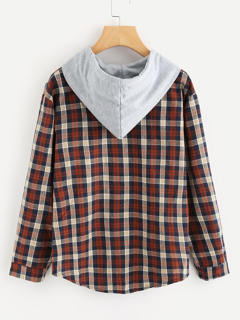 Hooded Button Front Check Sweatshirt With Chest Pockets (3)