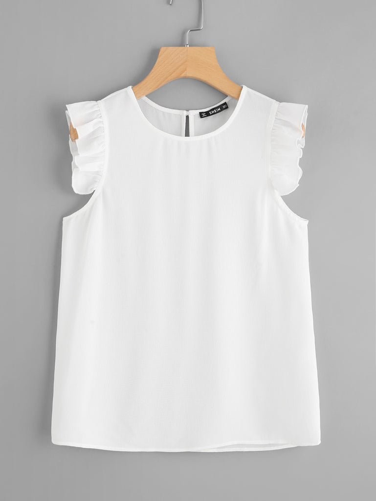 Frilled Armhole Button Closure Back Shell Top