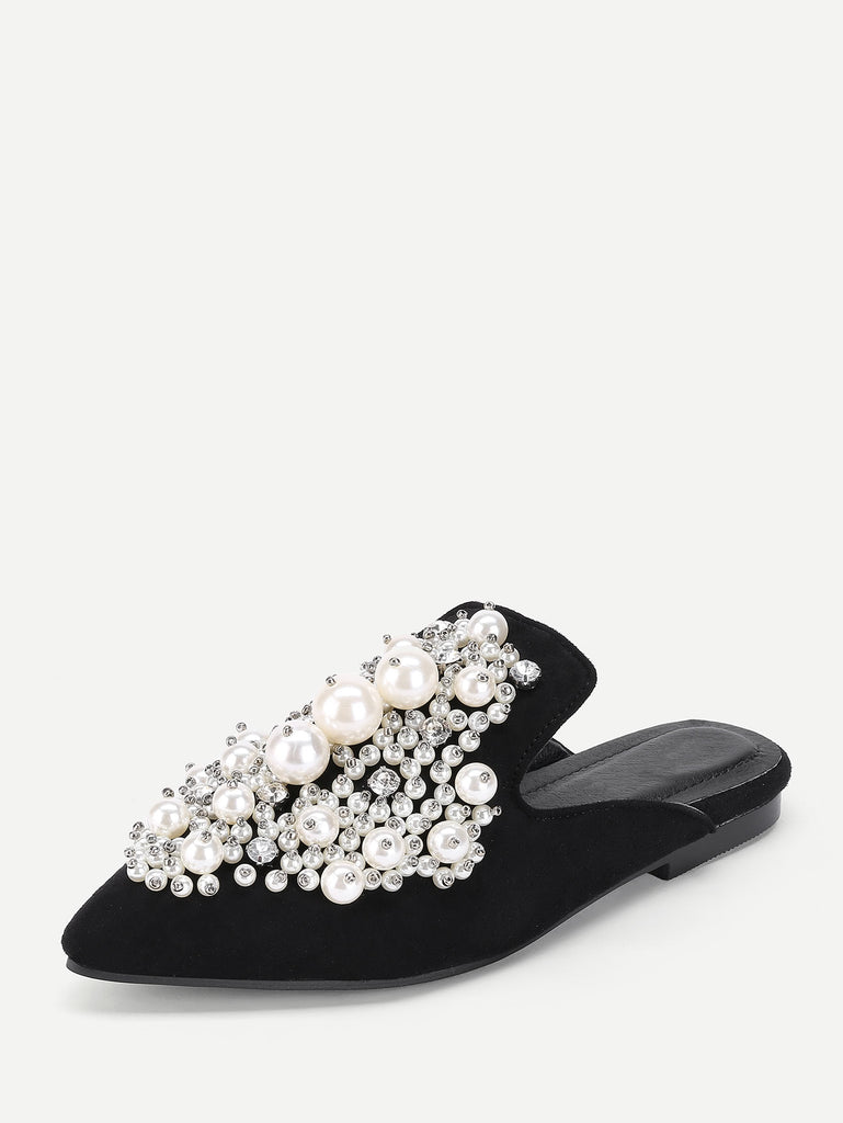 Faux Pearl Decorated Flat Mules (2)