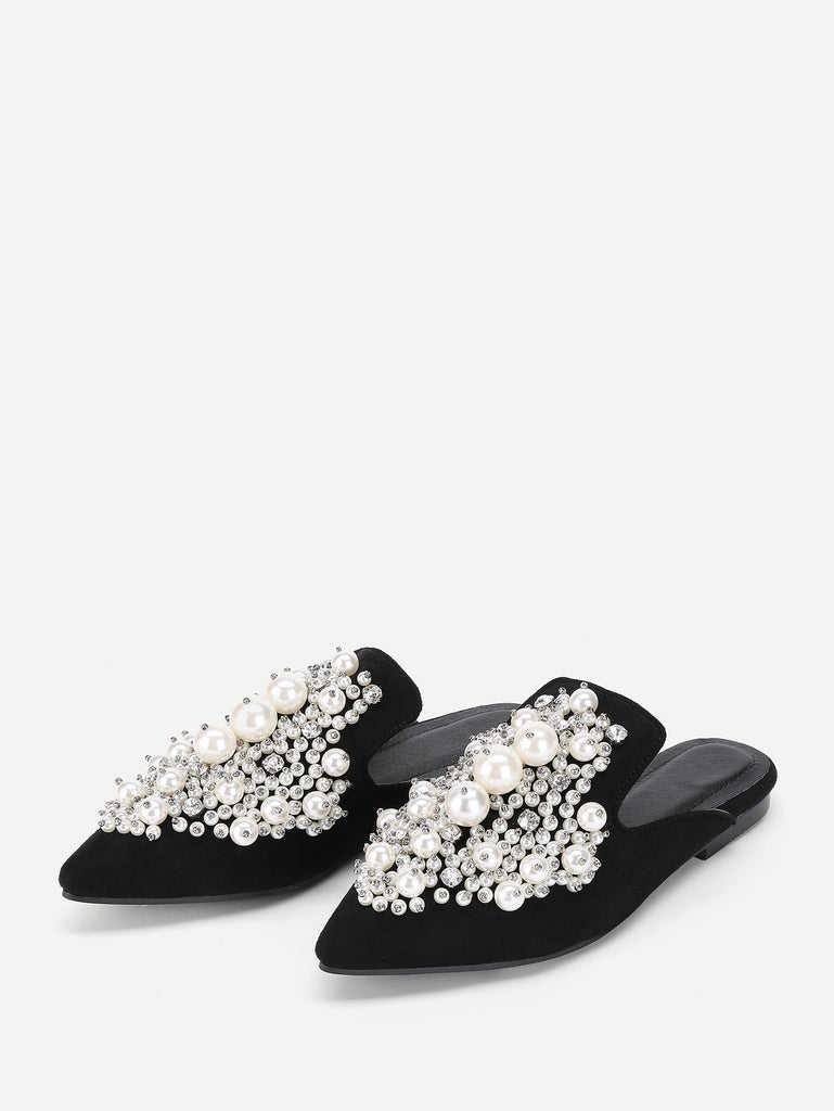 Faux Pearl Decorated Flat Mules (3)