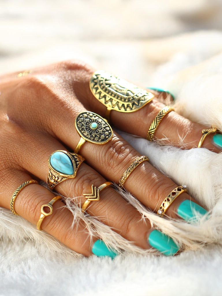 Multi Shaped Ring Set With Turquoise (2)