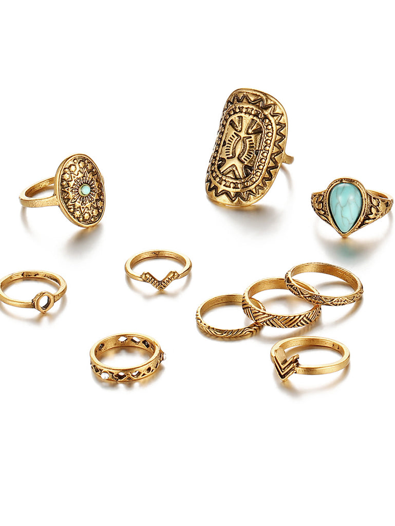 Multi Shaped Ring Set With Turquoise (3)