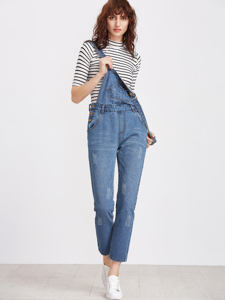 Bleach Wash Denim Overalls