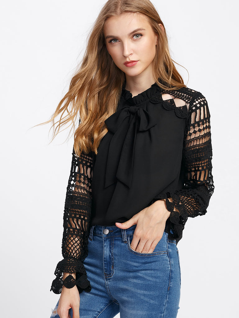 Geo Lace Sleeve Frilled Tie Neck Blouse (3)