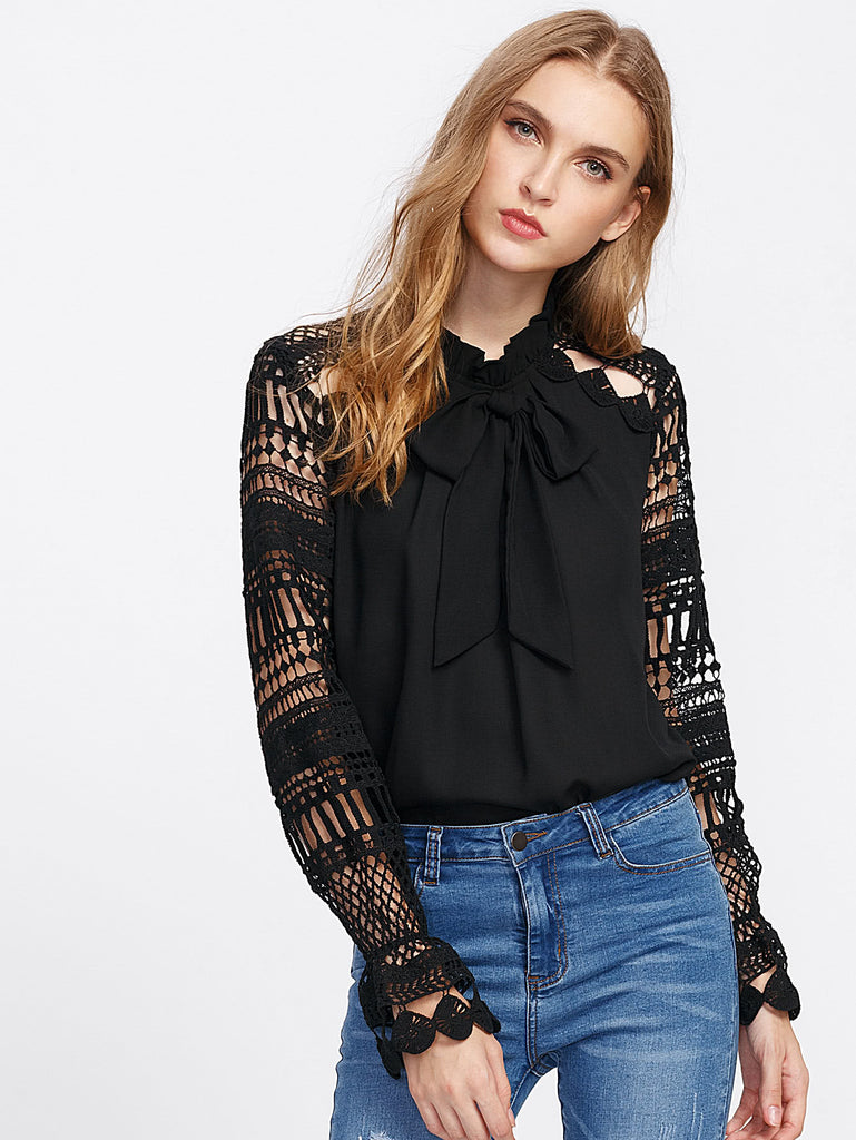 Geo Lace Sleeve Frilled Tie Neck Blouse (2)