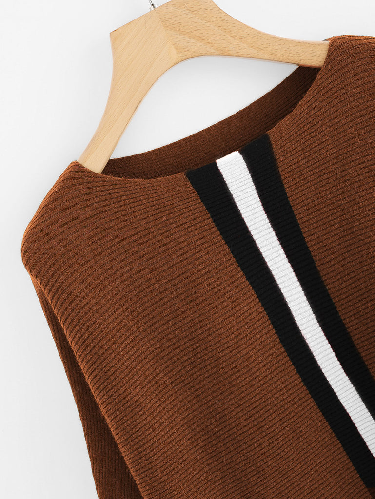 Contrast Striped Panel Ribbed Sweater (2)