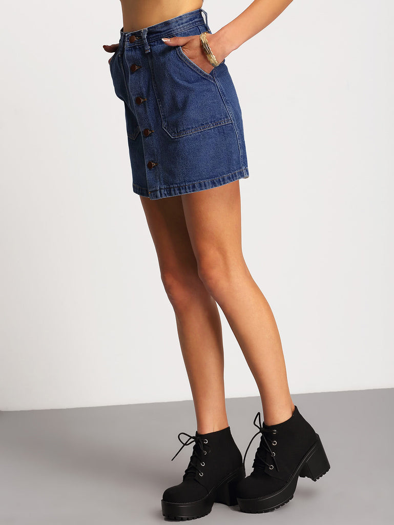 A-line Button Through Denim Skirt (2)