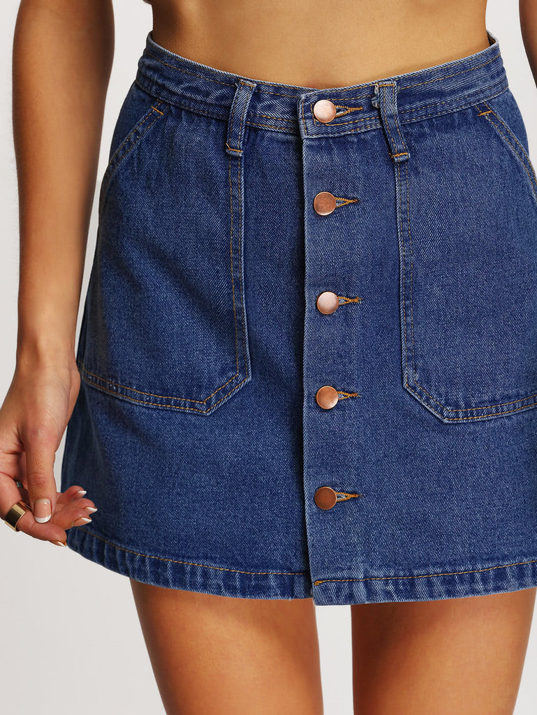A-line Button Through Denim Skirt (4)