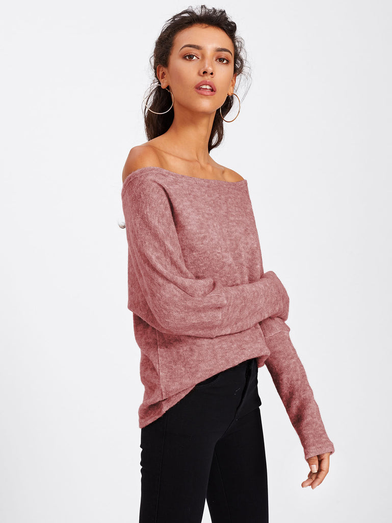 Asymmetric Shoulder Batwing Sleeve Sweater (4)