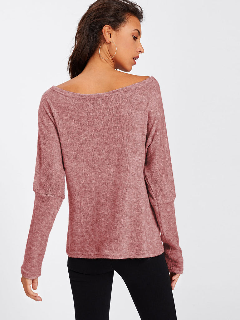 Asymmetric Shoulder Batwing Sleeve Sweater (2)