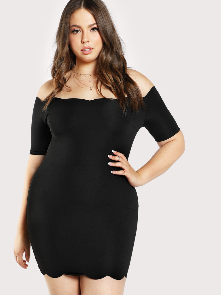 Scallop Edge Bardot Dress