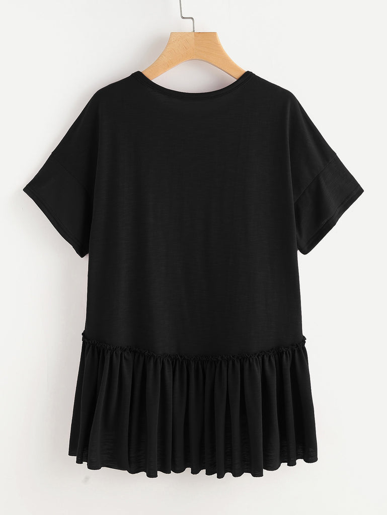 Drop Shoulder Frill Detail Dip Hem Tee (3)
