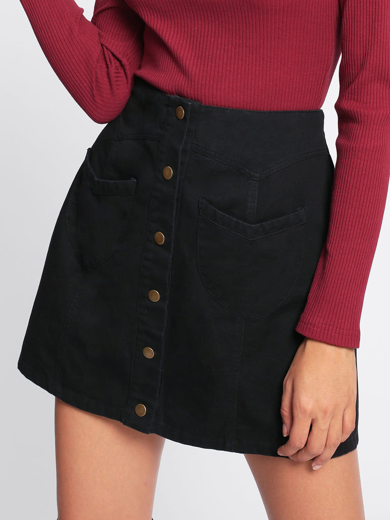 Patch Pocket Button Up Skirt (2)