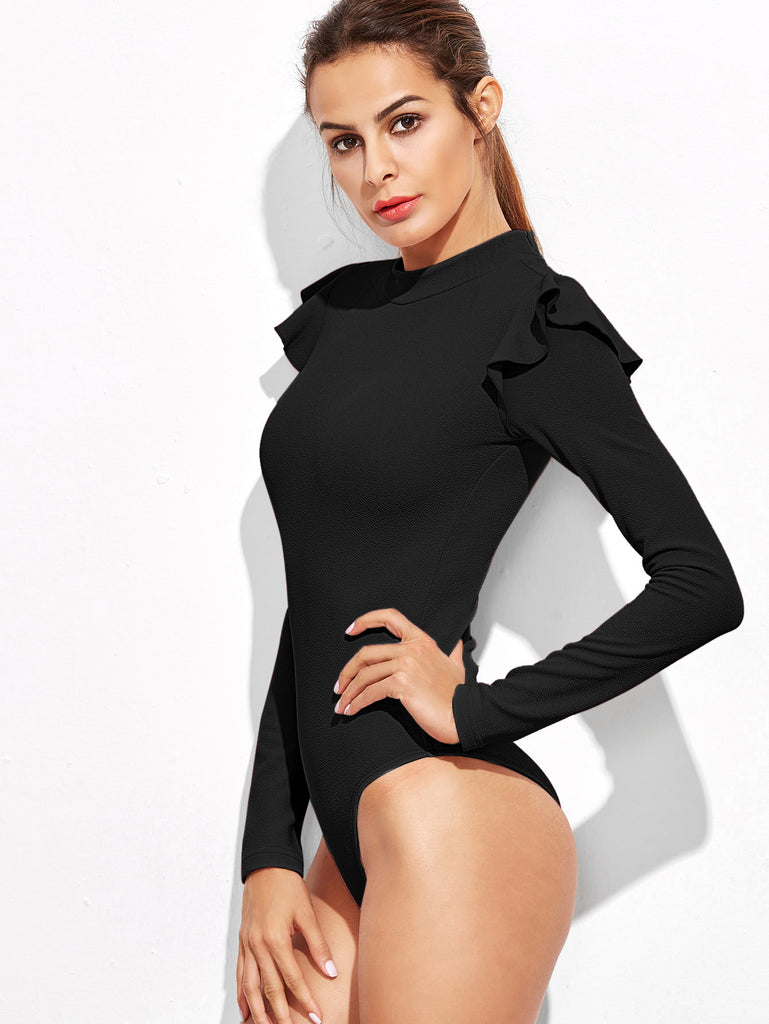 Mock Neck Frill Detail Textured Bodysuit (3)