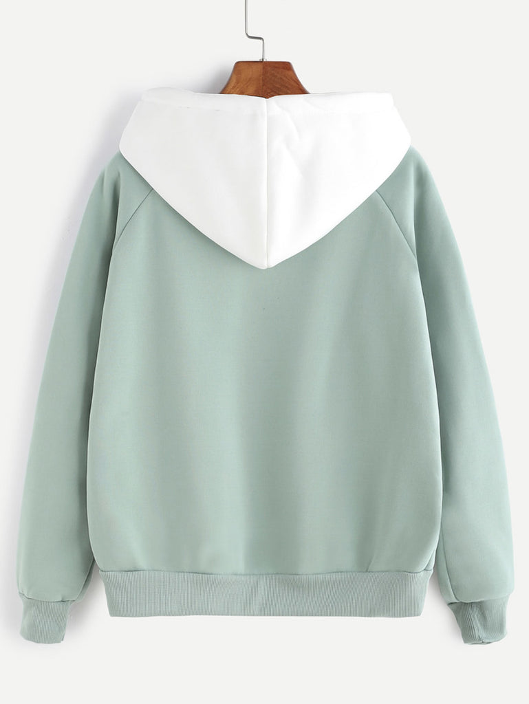 Pale Green Raglan Sleeve Pocket Sweatshirt With Contrast Hood (3)