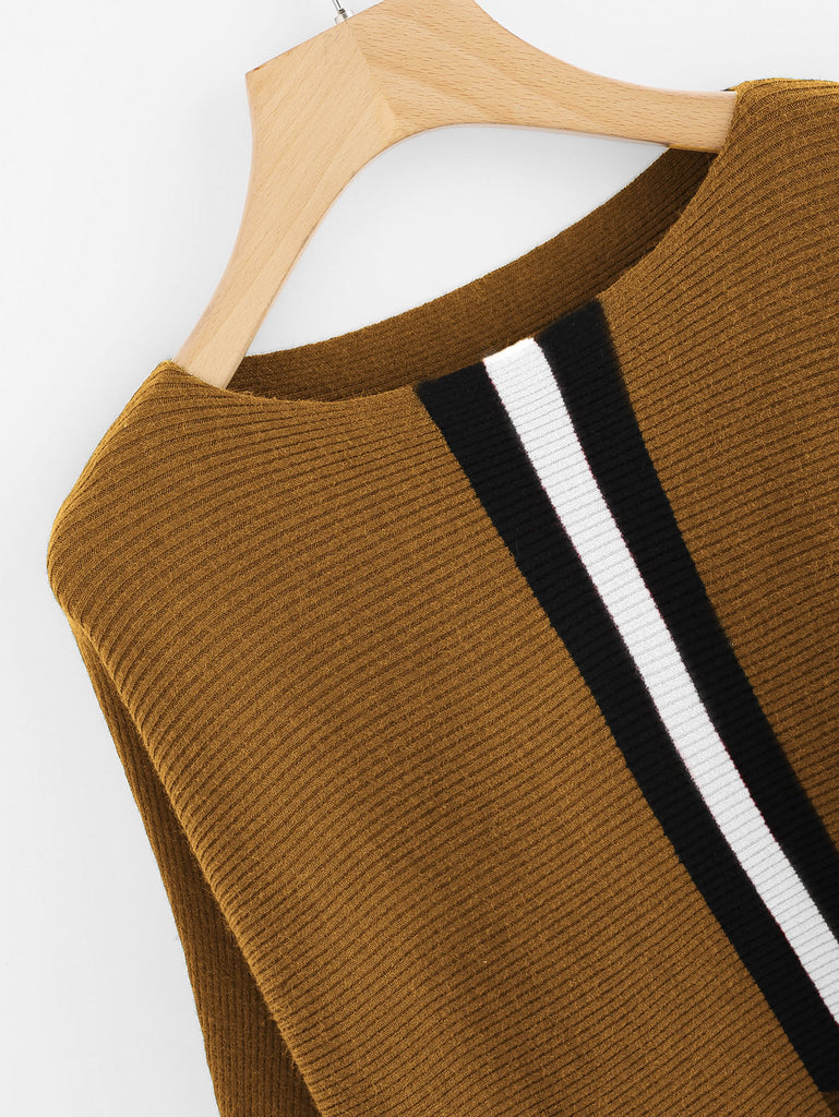 Contrast Striped Panel Batwing Sweater (2)
