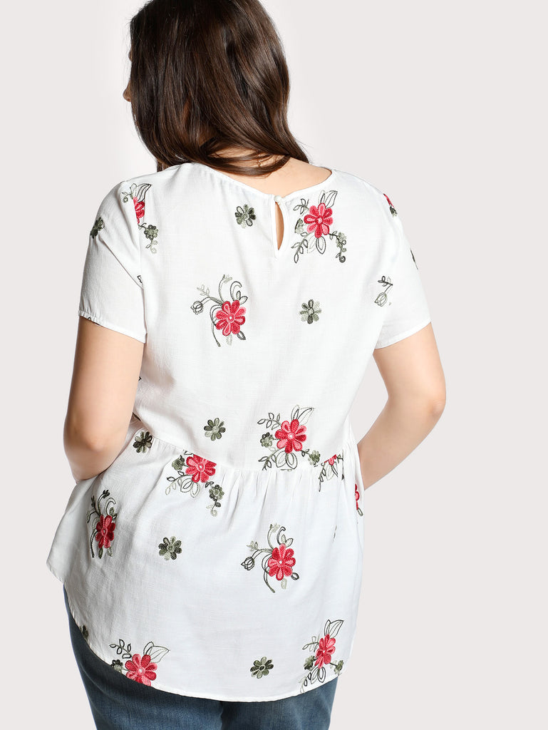 Flower Embroidered Smock Top (2)
