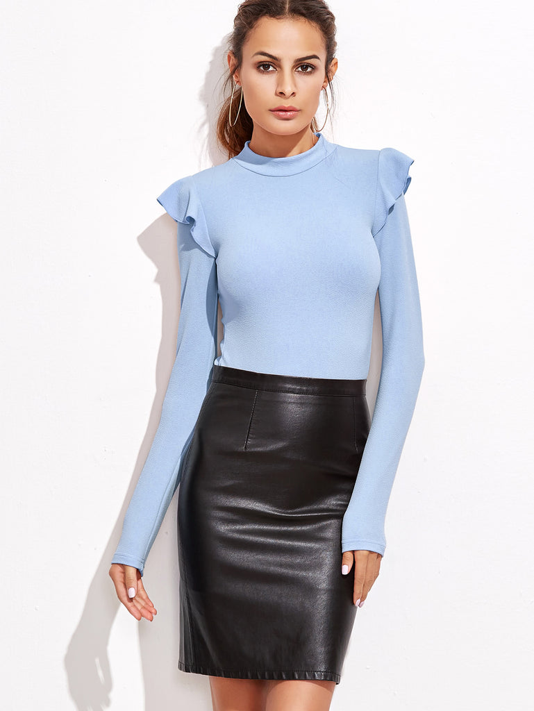 Mock Neck Frill Detail Textured Bodysuit