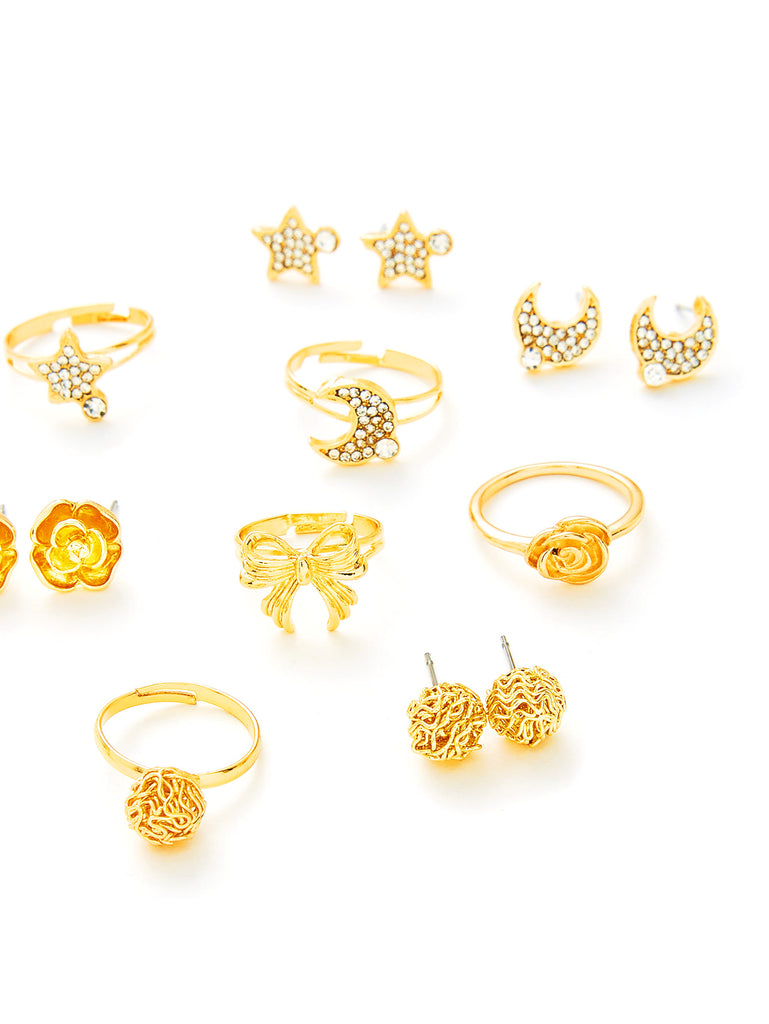 Moon & Flower Design Ring & Earring Set (2)