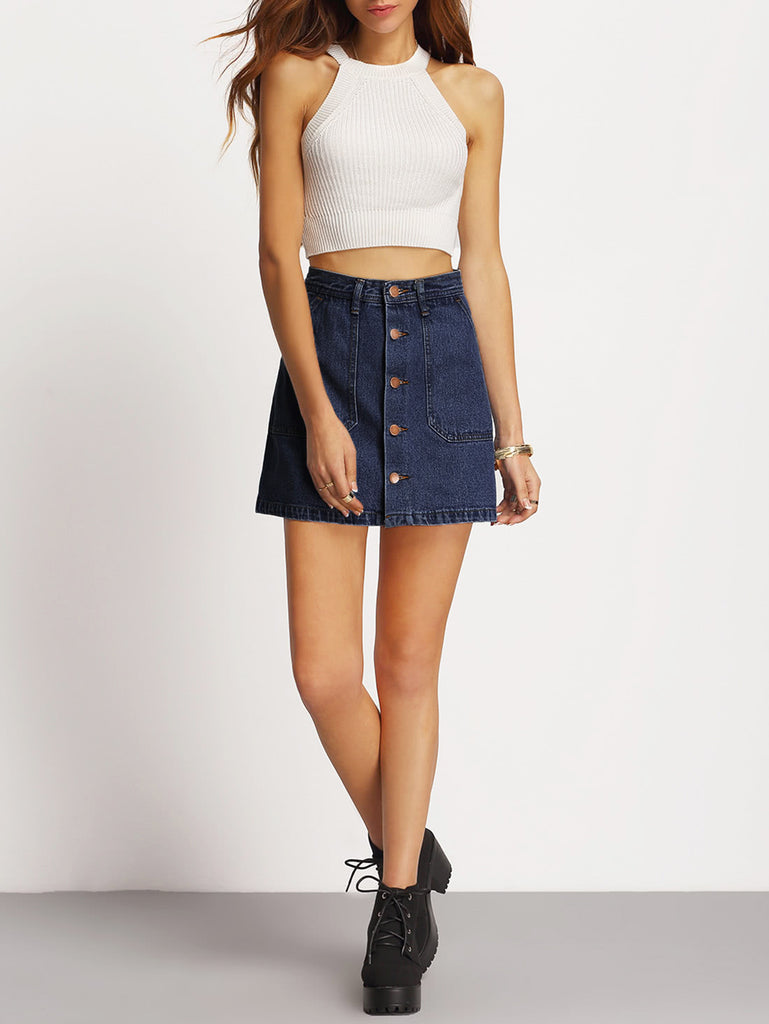 A-line Button Through Denim Skirt (3)