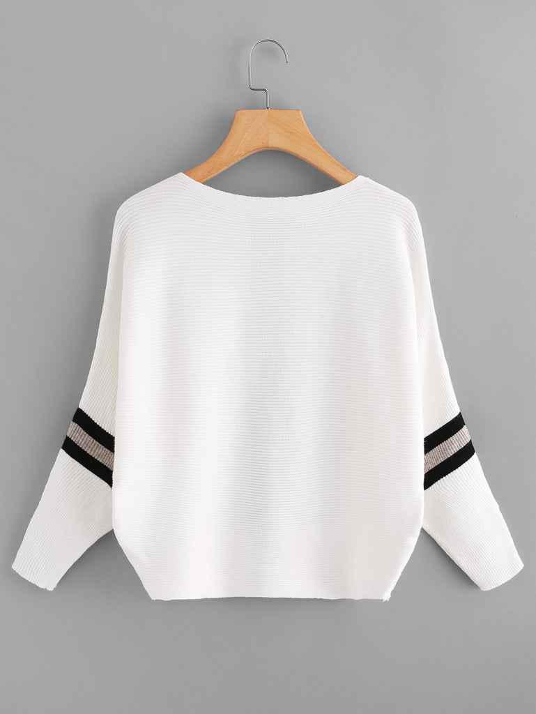 Contrast Striped Panel Ribbed Sweater (3)