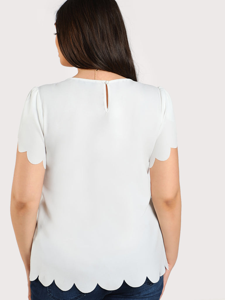 Buttoned Keyhole Back Scalloped Top (2)