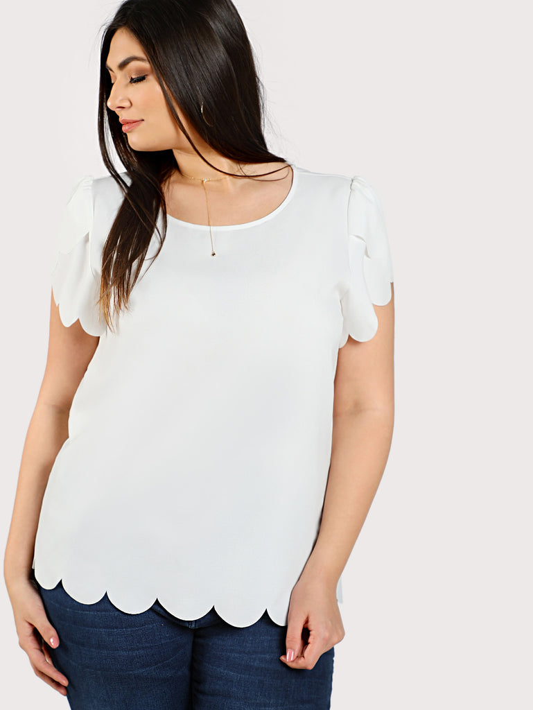 Buttoned Keyhole Back Scalloped Top