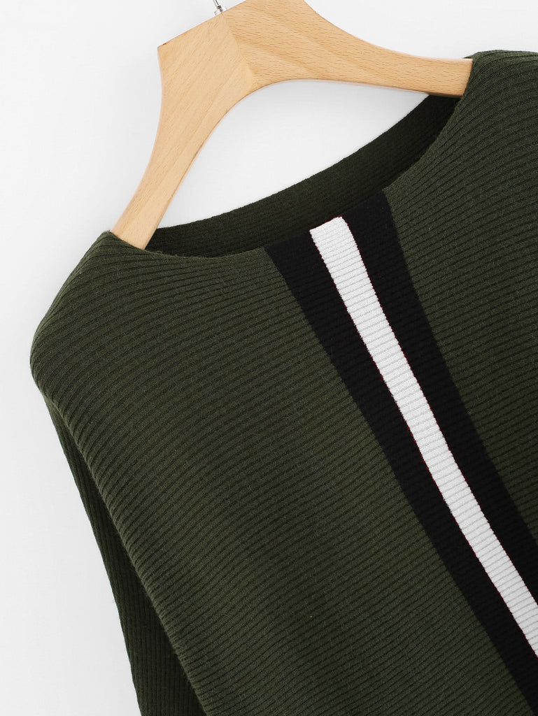 Contrast Striped Panel Batwing Sleeve Sweater (2)