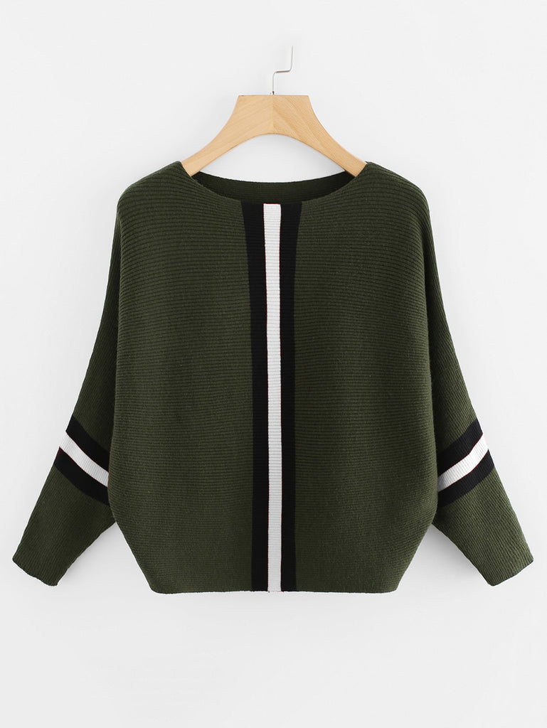 Contrast Striped Panel Batwing Sleeve Sweater