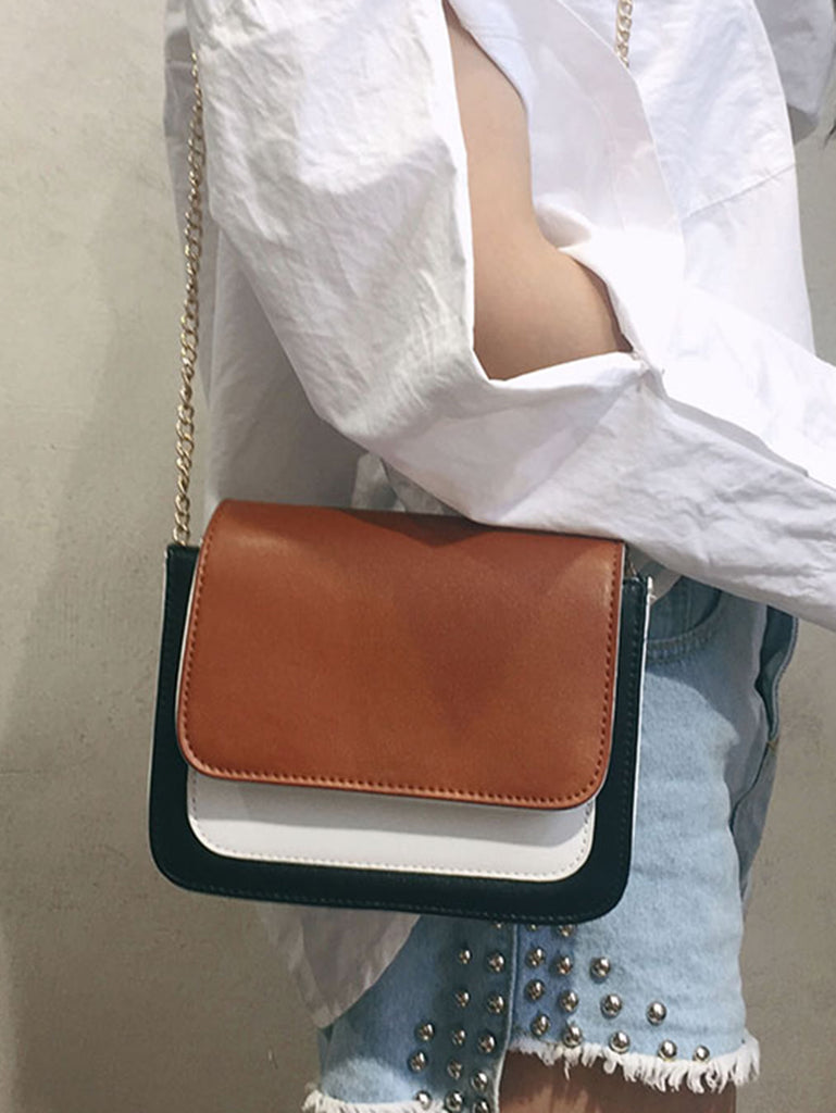 Color Block Flap Chain Bag (2)
