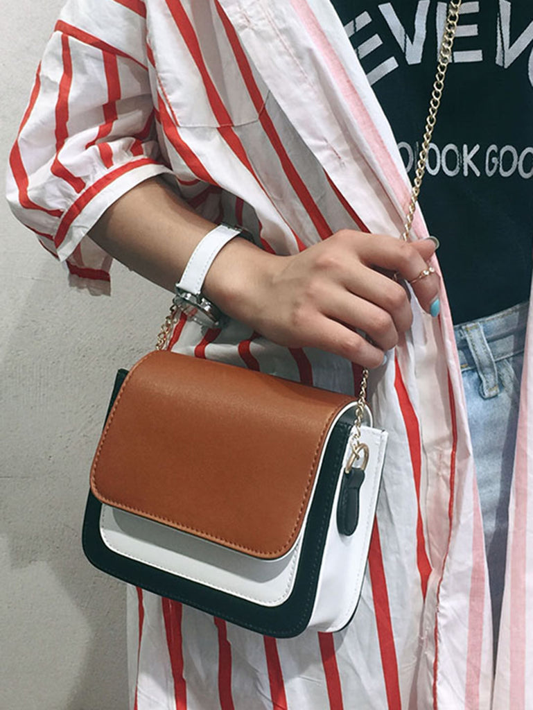 Color Block Flap Chain Bag (3)