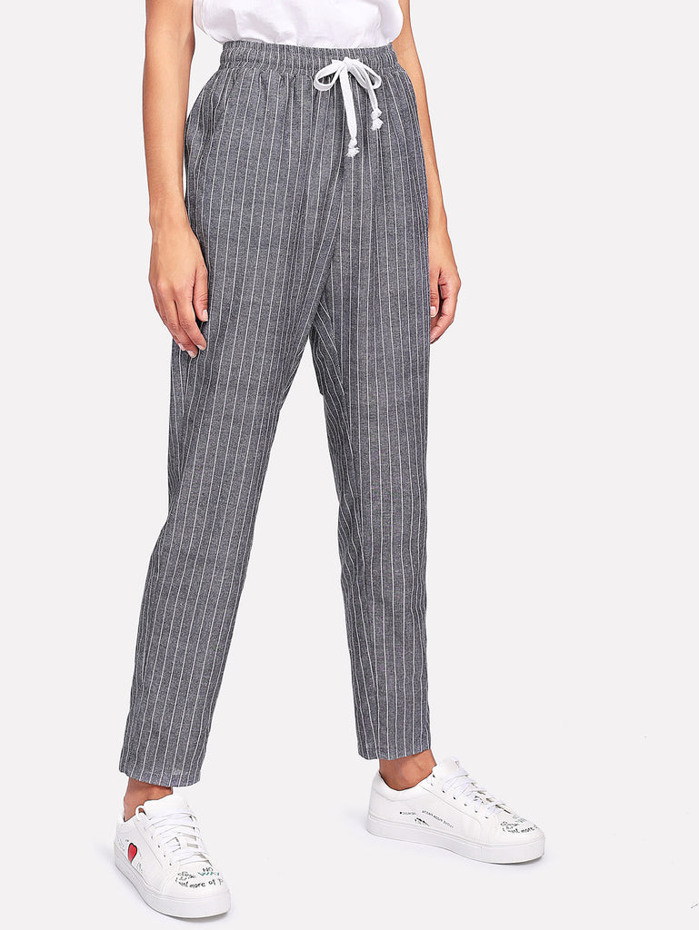 Drawstring Waist Pinstripe Tapered Pants