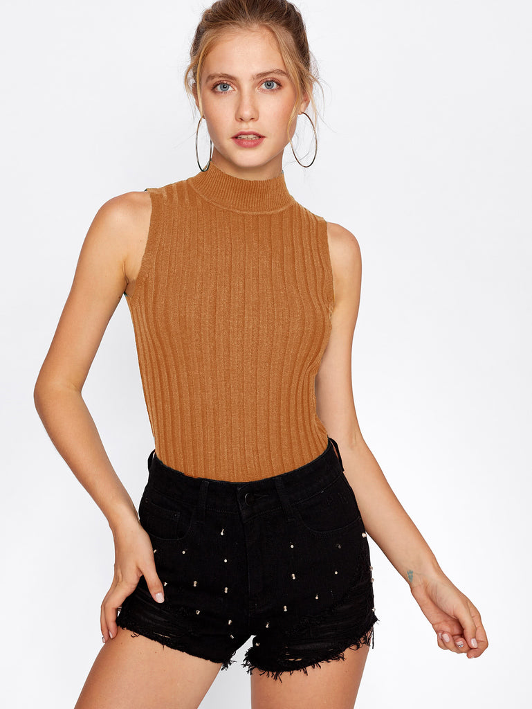 Mock Neck Ribbed Knit Sweater (2)