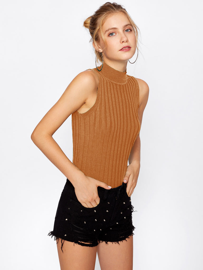 Mock Neck Ribbed Knit Sweater (3)