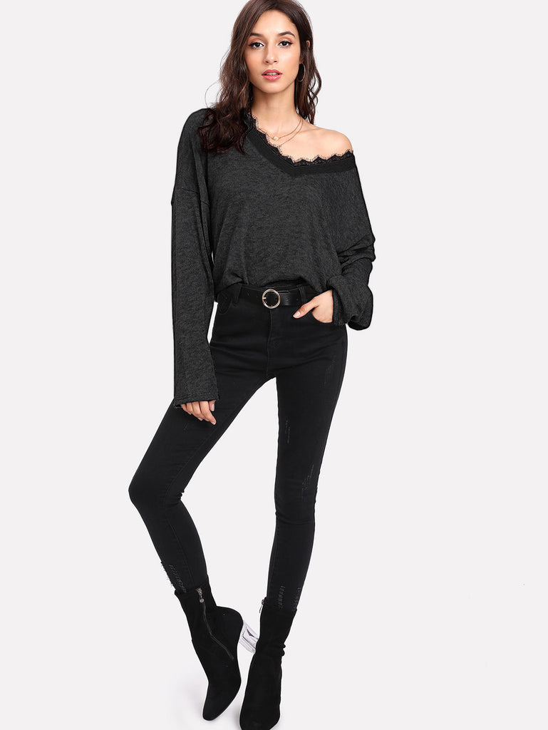 Contrast Eyelash Lace Drop Shoulder Jumper (4)