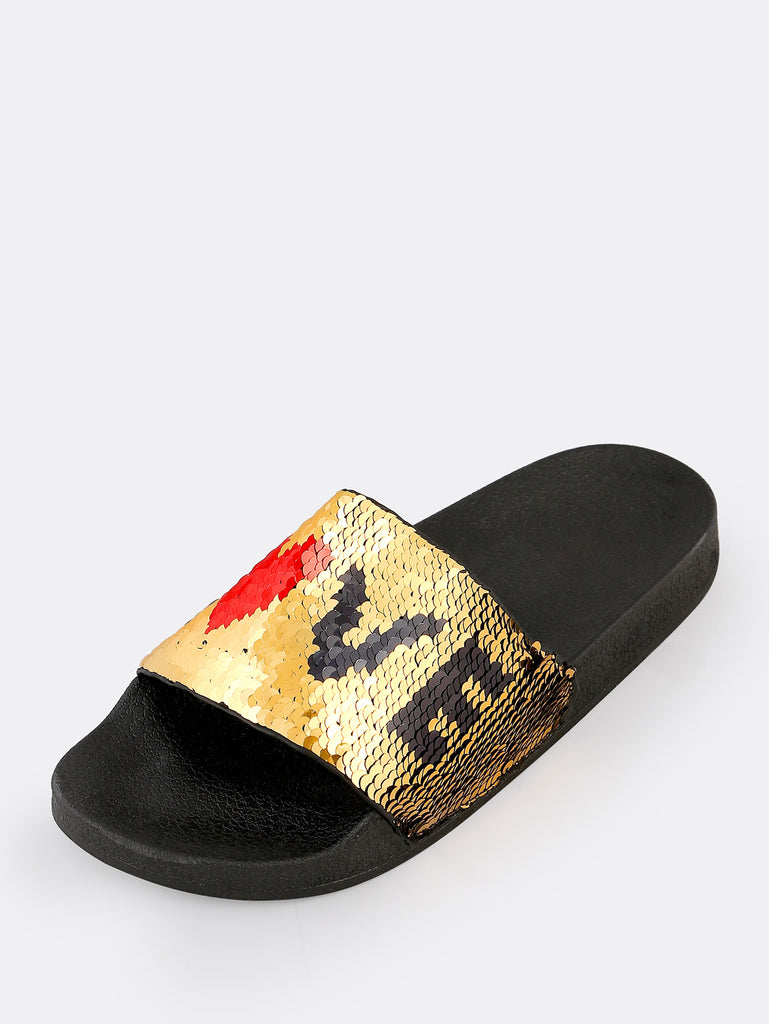 Love Sequin Slippers GOLD (2)