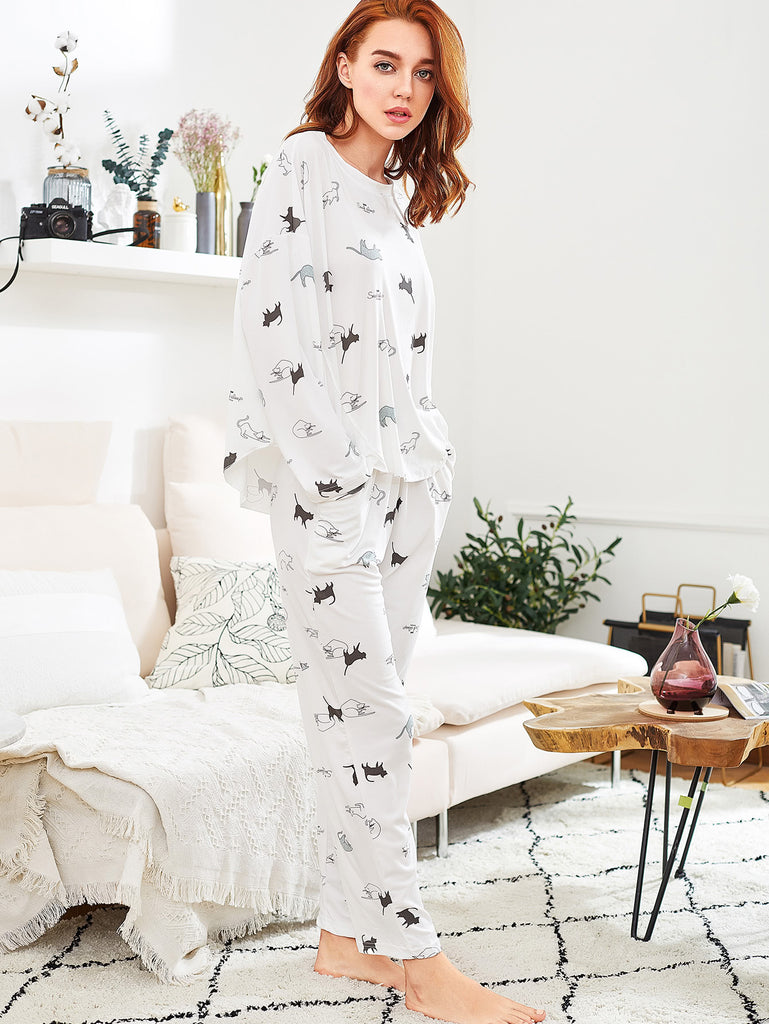 Cat Print Long Pajama Set (2)
