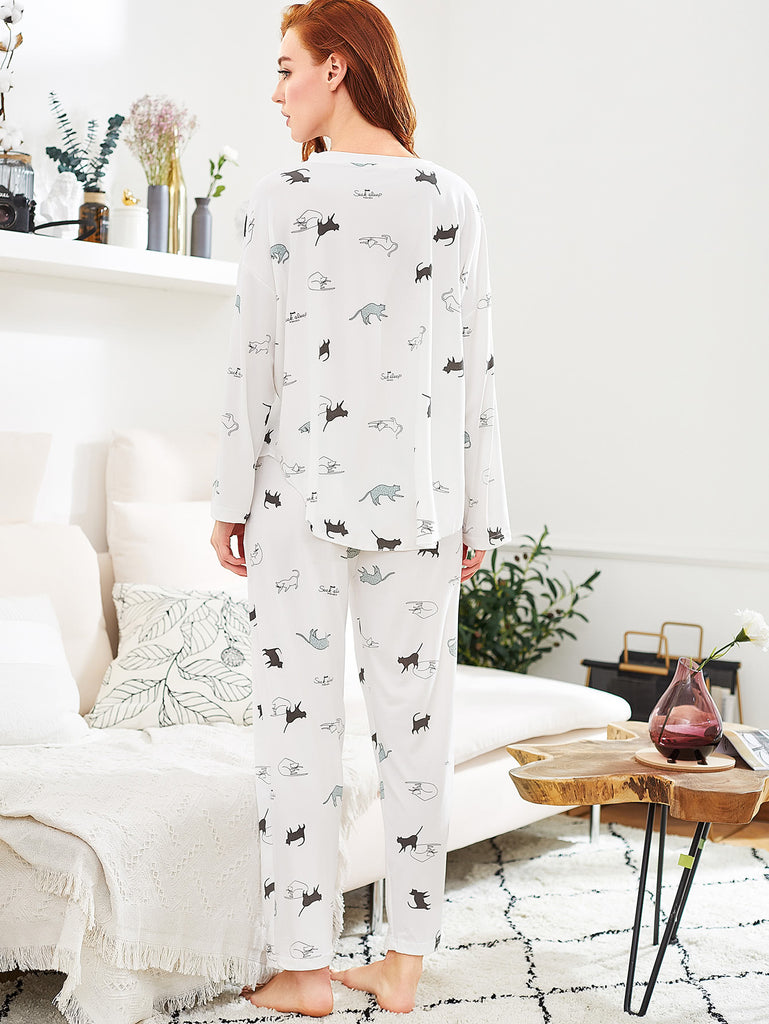 Cat Print Long Pajama Set (3)